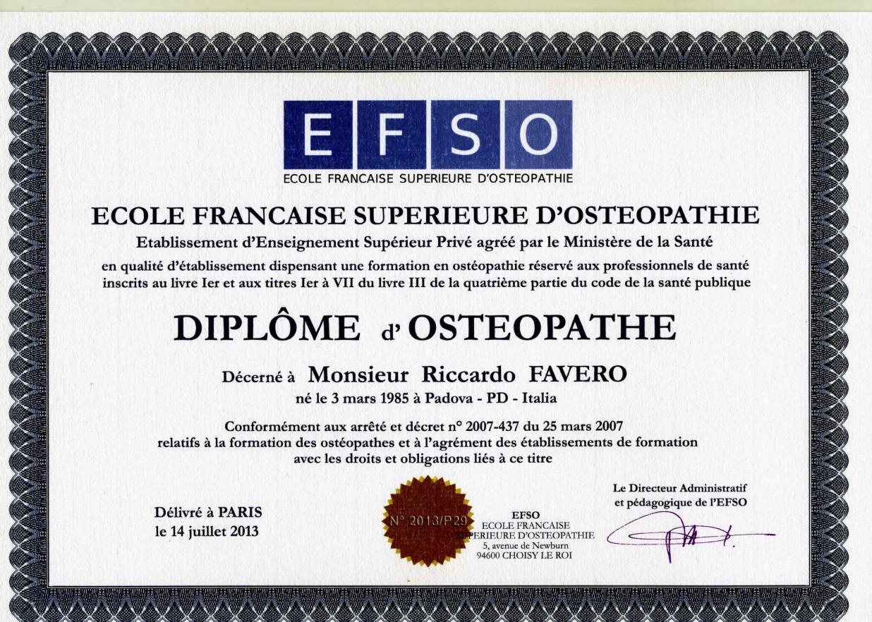 Diploma_Osteopatia_Osteopata_Padova_Dott.Favero_Riccardo_Centro_Medico_EFFE_