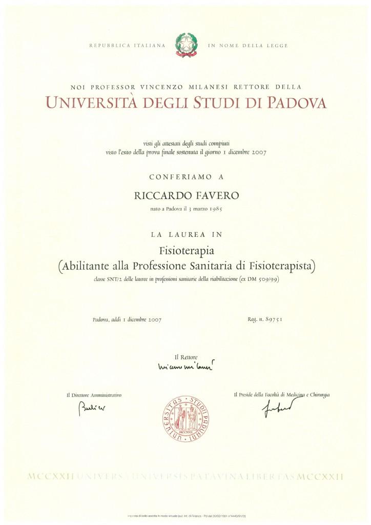 Laurea_fisioterapia _Dott.Favero_Riccardo_Centro_Medico_EFFE